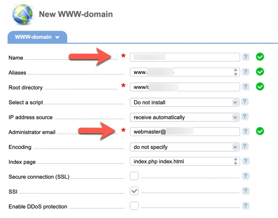 Add Domain2 ISPmanager