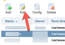 Edit domain ispmanager