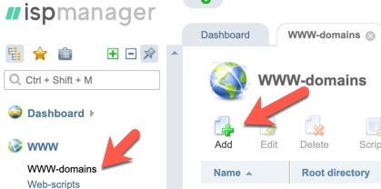Add domain ISPmanager