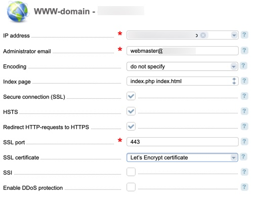 ISPmanager enable ssl