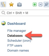 ISPmanager database menu