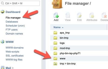 ISPmanager file manager