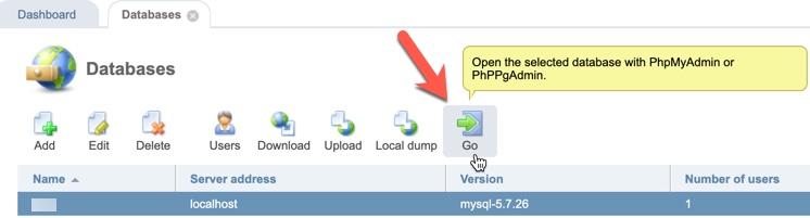 ISPmanager open database