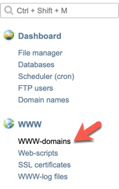ISPManager Domain Menu
