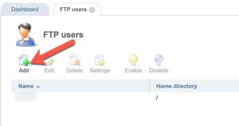 ISPmanager add user button